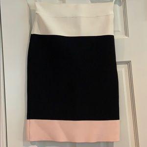 BCBG Maxazria Black, White, Light Pink skirt